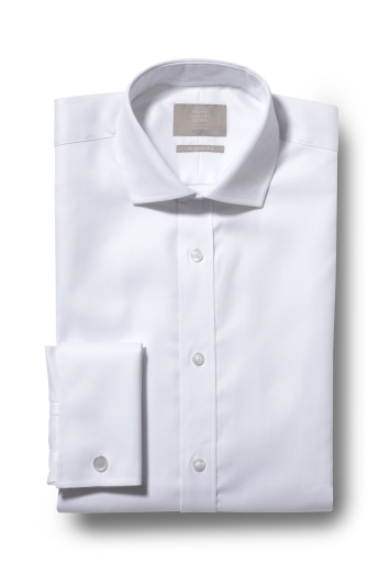 Savoy Taylors Guild Regular Fit White Double Cuff Herringbone Shirt