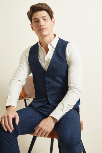 Moss London Slim Fit Navy Puppytooth Waistcoat