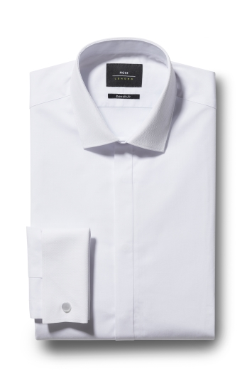 Moss London Extra Slim Fit White Dobby Dress Shirt