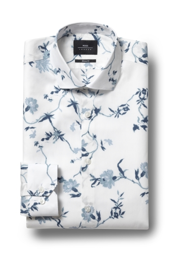 Moss London Skinny Fit Blue Single Cuff Floral Shirt