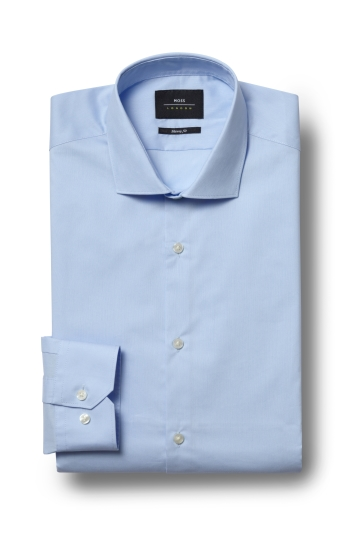 Moss London Skinny Fit Sky Single Cuff Stretch Shirt