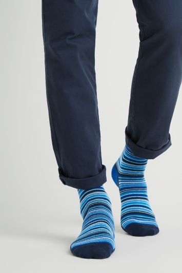 Moss London Navy Multi-Fine Stripe Socks