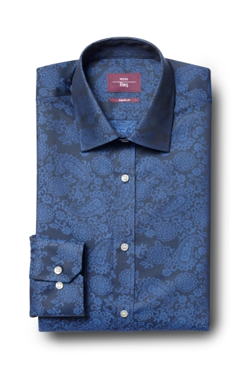 Moss Esq. Regular Fit Blue Single Cuff Jacquard Shirt
