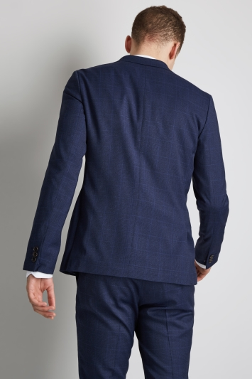 Moss London Slim Fit Blue Check Lightweight Jacket