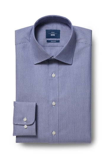 Moss 1851 Tailored Fit Navy Single Cuff Shirt