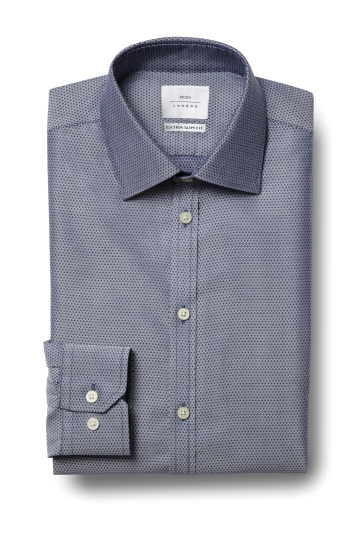 b2a9c8d6c0b Moss London Premium Extra Slim Fit Indigo Single Cuff Dobby Zero Iron Shirt