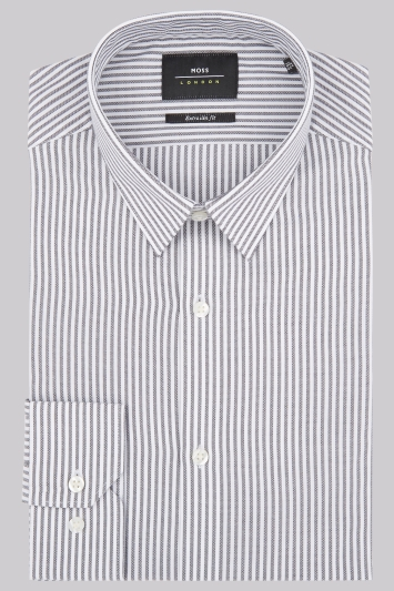Moss London Extra Slim Fit Black & White Single Cuff Stripe Shirt