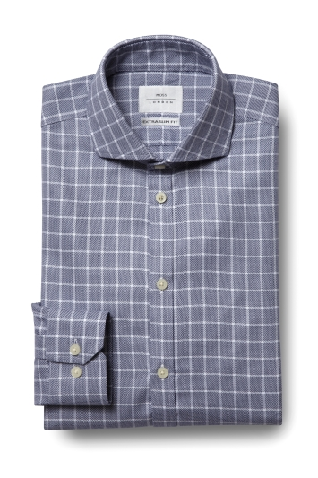 Moss London Premium Extra Slim Fit Navy Single Cuff Textured Check Zero Iron Shirt