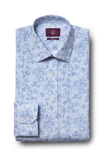 Moss Esq. Regular Fit Sky Single Cuff Floral Stripe Shirt