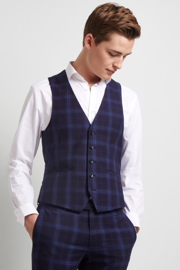 Moss London Skinny Fit Blue Shadow Check Waistcoat