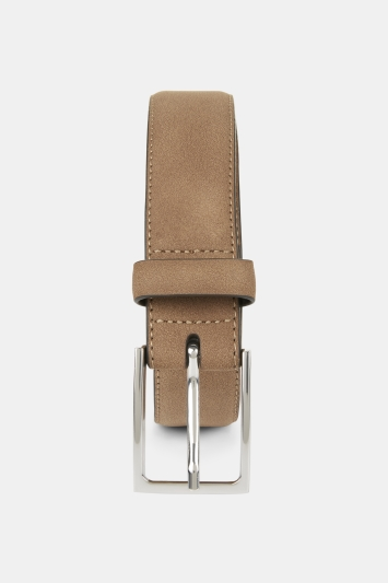 Moss London Light Brown Suede Belt