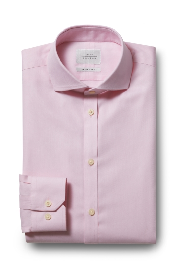 Moss London Premium Extra Slim Fit Pink Single Cuff Twill Zero Iron Shirt