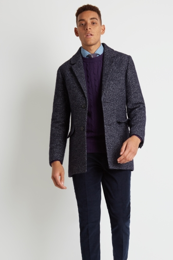Moss London Slim Fit Blue Textured Boucle Overcoat