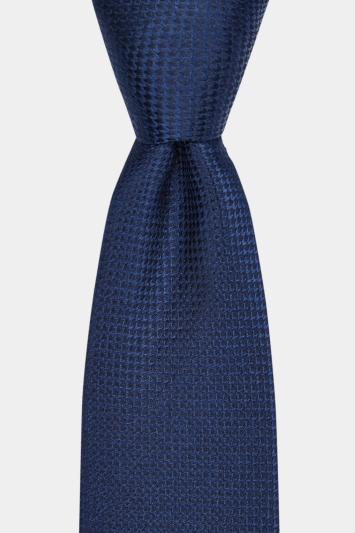 Moss London Premium Navy Semi-Textured Silk Tie