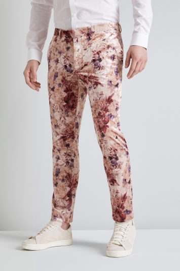 Moss London Skinny Fit Pink Floral Velvet Trousers