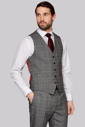 Savoy Taylors Guild Regular Fit Black and White Check Waistcoat