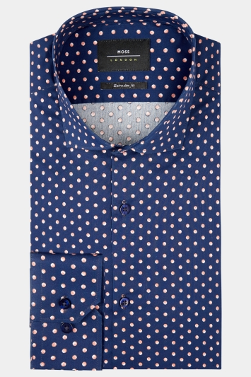 Moss London Extra Slim Fit Navy & Pink Single Cuff Spot Shirt