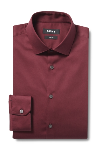 DKNY Slim Fit Wine Single Cuff Stretch Shirt