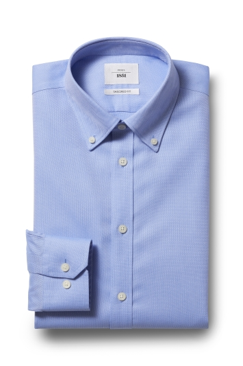 Moss 1851 Tailored Fit Sky Button Down Textured Zero Iron Shirt
