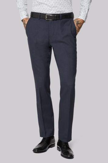 Moss 1851 Wool Rich Machine Washable Navy Semi Plain Trousers