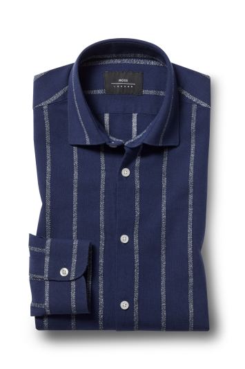 Moss London Skinny Fit Navy Single Cuff Stripe Shirt