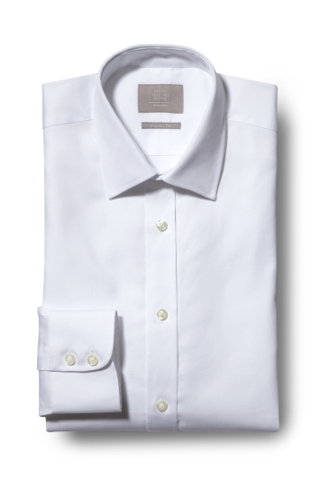 Savoy Taylors Guild Regular Fit White Single Cuff Oxford Shirt