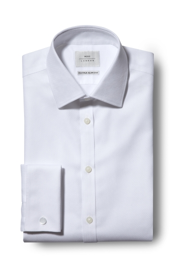 Moss London Premium Extra Slim Fit White Double Cuff Dobby Zero Iron Shirt