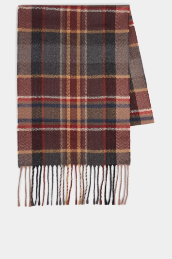 Moss 1851 Burgundy, Grey & Camel Checked Scarf