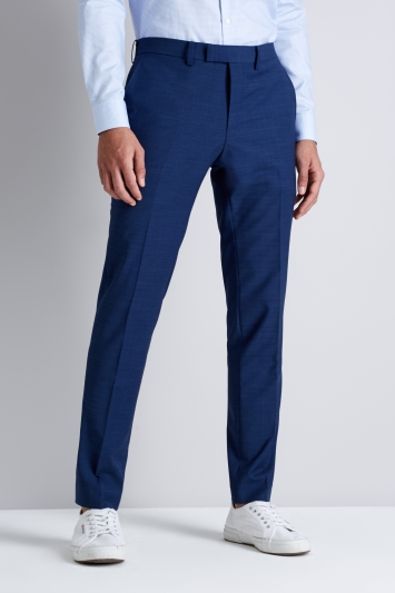 Moss London Performance Bright Blue Pindot Trousers
