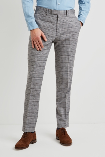 Moss 1851 Tailored Fit Black and White Twist Check Trousers