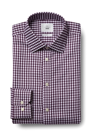 Moss 1851 Tailored Fit Wine Single Cuff Dobby Check Zero Iron Shirt