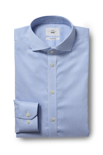 Moss 1851 Tailored Fit Blue Single Cuff Bengal Stripe Zero Iron Shirt