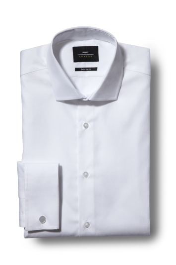 Moss London Premium Extra Slim Fit White Double Cuff Poplin Shirt