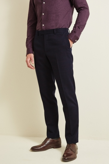 Moss London Slim Fit Navy Berry Check Trouser