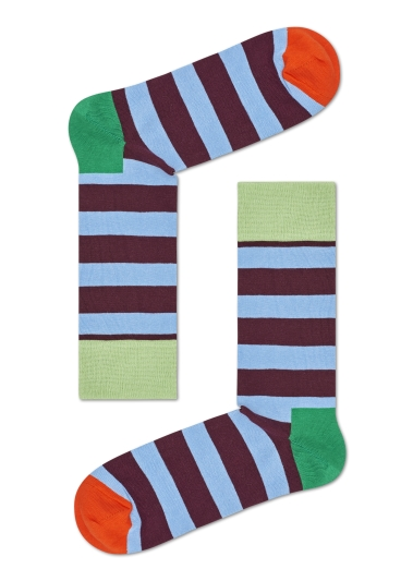 HS by Happy Socks Sky with Thick Maroon Stripe Sock