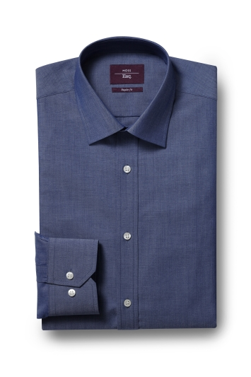 Moss Esq. Regular Fit Denim Blue Single Cuff Chambray Shirt