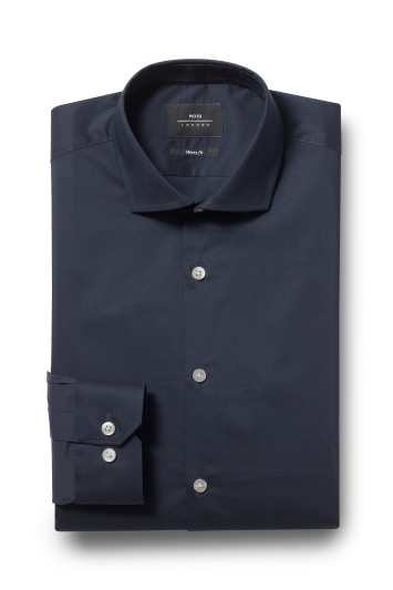 Moss London Skinny Fit Navy Single Cuff Stretch Shirt