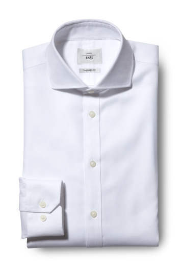 Moss 1851 Tailored Fit White Single Cuff Textured Zero Iron Shirt