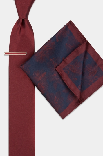 Moss London Wine Floral Tie, Pocket Square & Tie Bar Set