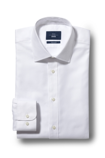 Moss 1851 Tailored Fit White Single Cuff Egyptian Cotton Textured Shirt