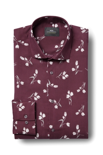 Moss London Skinny Fit Berry Single Cuff Tencel Print Shirt
