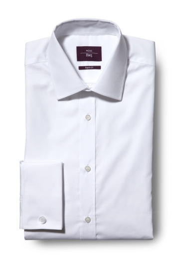 e4592dc29af2cd Moss Esq. Regular Fit White Double Cuff Non Iron Shirt