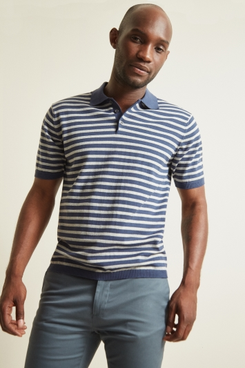 Moss 1851 Mid-Blue with Warm Grey Stripe Short-Sleeve Polo Shirt