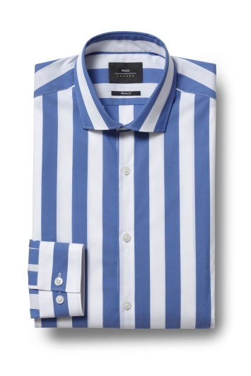 53179716 Moss London Skinny Fit Blue Single Cuff Wide Stripe Stretch Shirt