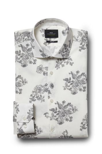 Moss London Skinny Fit Grey Single Cuff Floral Print Shirt