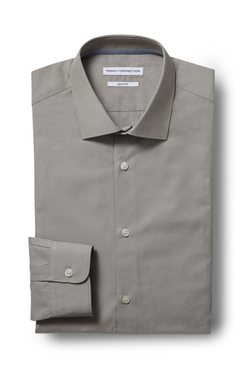 French Connection Slim Fit Tobacco Single Cuff Chambray Shirt