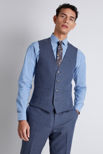 French Connection Slim Fit Blue Mist Waistcoat