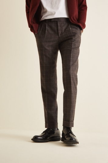 Moss London Slim Fit Italian Brown Check Trousers