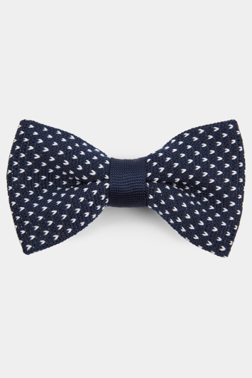 Moss London Navy & White Crowsfoot Knitted Bow Tie