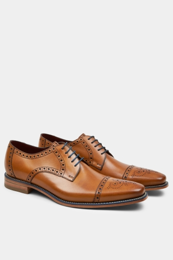 Loake Foley Tan Semi-Brogue Derby Shoe